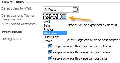 facebook default tab
